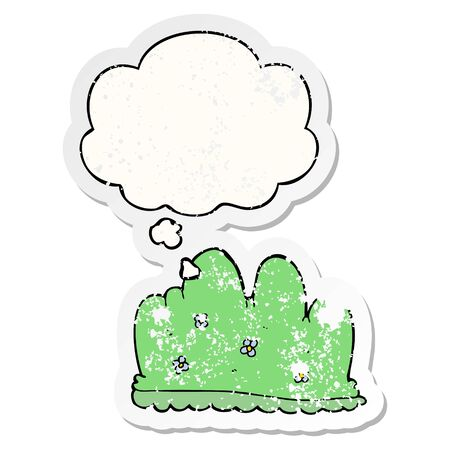 cartoon hedge with thought bubble as a distressed worn sticker Illustration