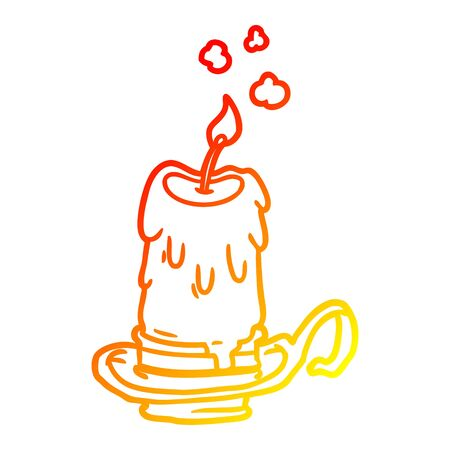 warm gradient line drawing of a old spooky candle in candleholder Ilustração