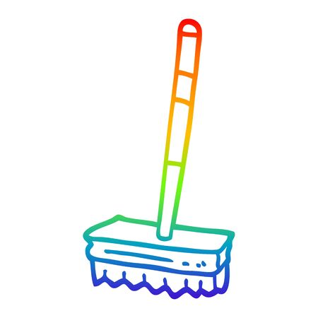 rainbow gradient line drawing of a cartoon sweeping brush