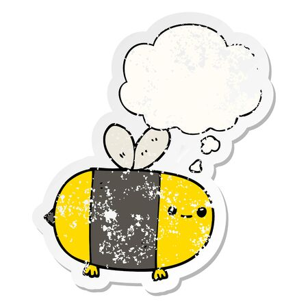 cute cartoon bee with thought bubble as a distressed worn sticker