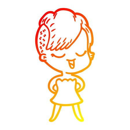 warm gradient line drawing of a happy cartoon girl in cocktail dress