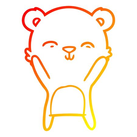warm gradient line drawing of a happy cartoon polar bear Ilustração