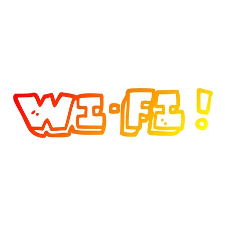 warm gradient line drawing of a cartoon wi fi
