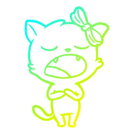 cold gradient line drawing of a cartoon singing cat