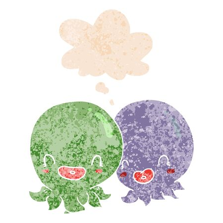 two cartoon octopi  with thought bubble in grunge distressed retro textured style