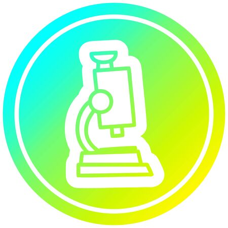 microscope and slide circular icon with cool gradient finish