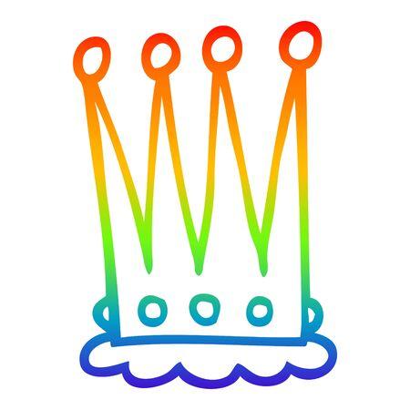 rainbow gradient line drawing of a cartoon crown Illustration
