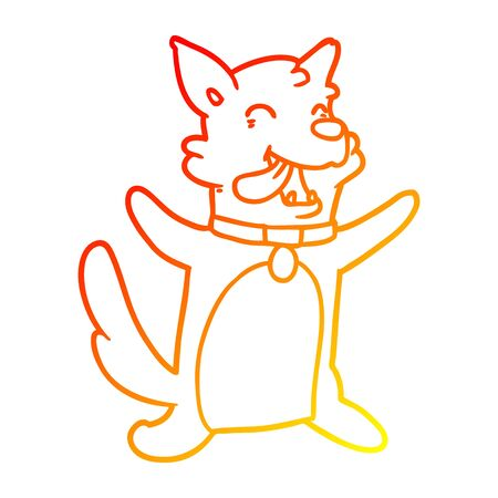 warm gradient line drawing of a cartoon happy dog Ilustracja