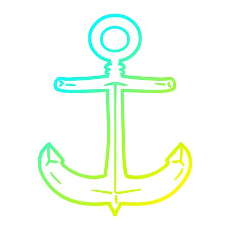 cold gradient line drawing of a cartoon anchor