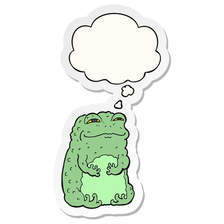 cartoon smug toad with thought bubble as a printed sticker Zdjęcie Seryjne - 128721759