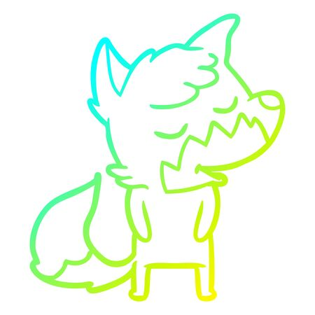 cold gradient line drawing of a friendly cartoon fox