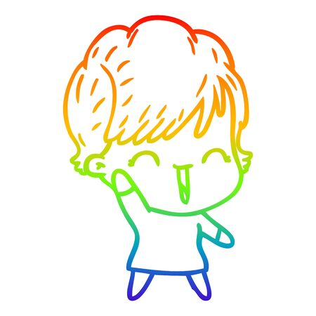 rainbow gradient line drawing of a cartoon laughing woman Ilustração