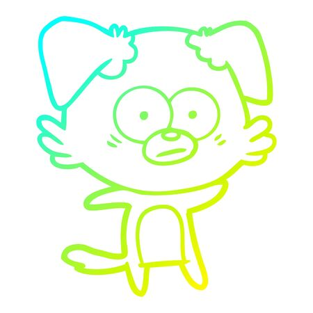 cold gradient line drawing of a nervous dog cartoon  イラスト・ベクター素材