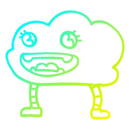 cold gradient line drawing of a cartoon weather cloud