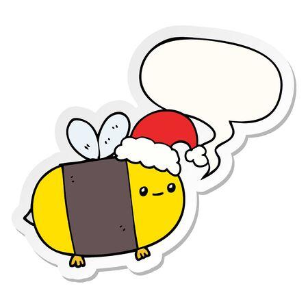 cartoon christmas bee with speech bubble sticker Ilustração