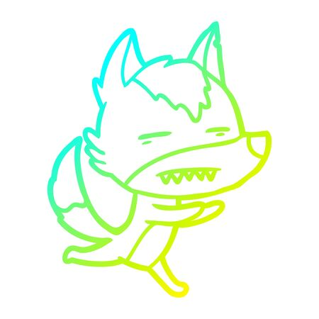cold gradient line drawing of a cartoon wolf showing teeth  イラスト・ベクター素材