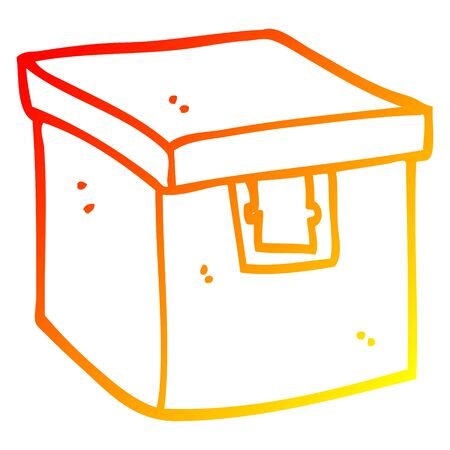 warm gradient line drawing of a cartoon evidence box