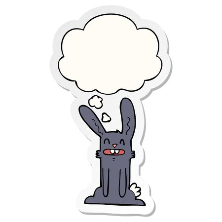 cartoon rabbit with thought bubble as a printed sticker Zdjęcie Seryjne - 128721706