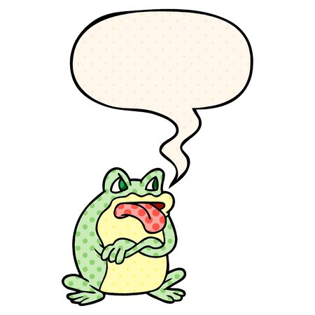 grumpy cartoon frog with speech bubble in comic book style Banque d'images - 128718216