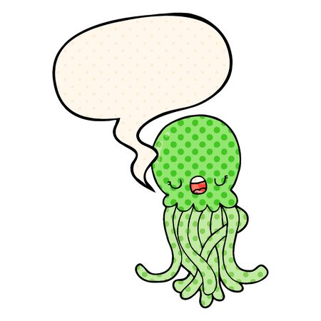 cartoon jellyfish with speech bubble in comic book style