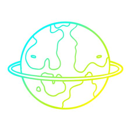 cold gradient line drawing of a cartoon alien planet