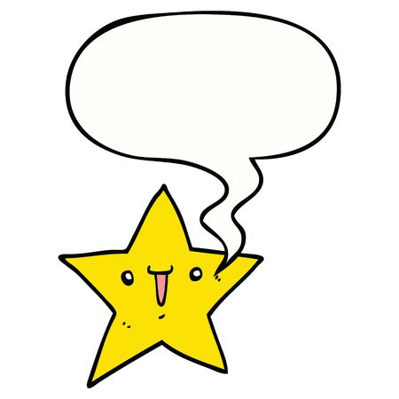 cute cartoon star with speech bubble