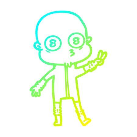 cold gradient line drawing of a cartoon weird bald spaceman
