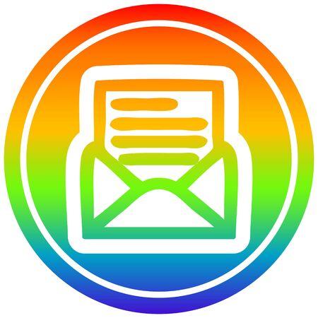 envelope letter circular icon with rainbow gradient finish Illusztráció
