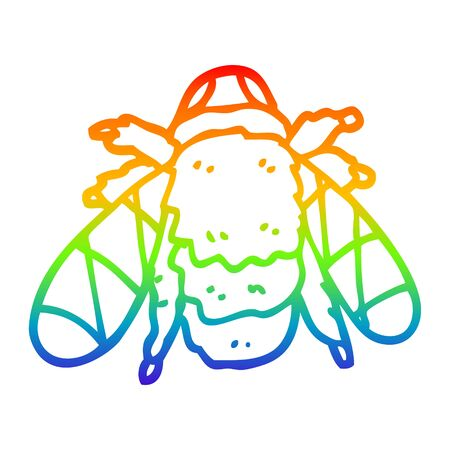 rainbow gradient line drawing of a cartoon bee