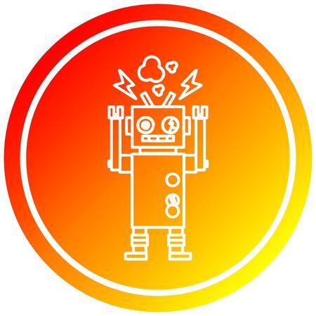defect cirkelvormig robotpictogram met warme gradiëntafwerking Vector Illustratie