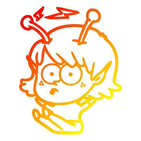 warm gradient line drawing of a cartoon alien girl Ilustração