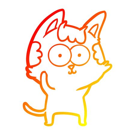 warm gradient line drawing of a happy cartoon cat