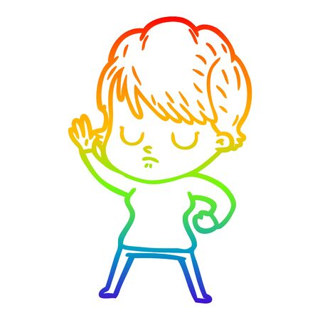 rainbow gradient line drawing of a cartoon woman