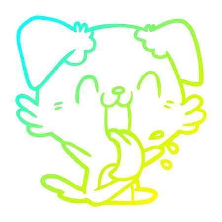 cold gradient line drawing of a cartoon panting dog sitting