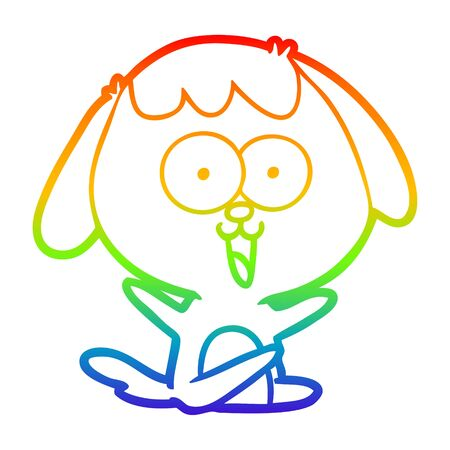 rainbow gradient line drawing of a cute cartoon dog  イラスト・ベクター素材