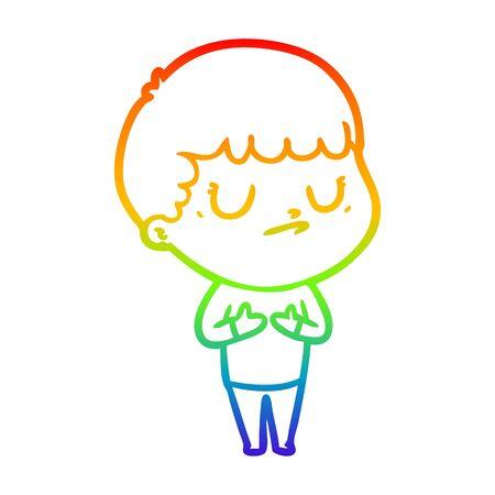 rainbow gradient line drawing of a cartoon grumpy boy Ilustração