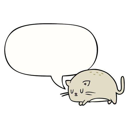 cute fat cartoon cat with speech bubble