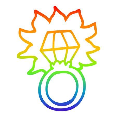 rainbow gradient line drawing of a cartoon diamond ring