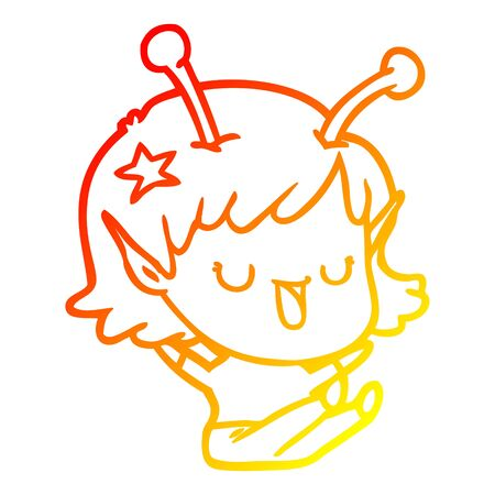 warm gradient line drawing of a happy alien girl cartoon laughing
