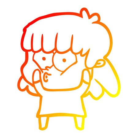 warm gradient line drawing of a cartoon surprised girl