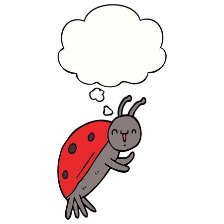 cute cartoon ladybug with thought bubble