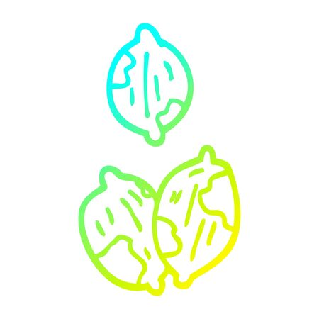 cold gradient line drawing of a cartoon nuts in shells