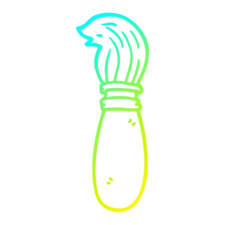 cold gradient line drawing of a cartoon paint brush
