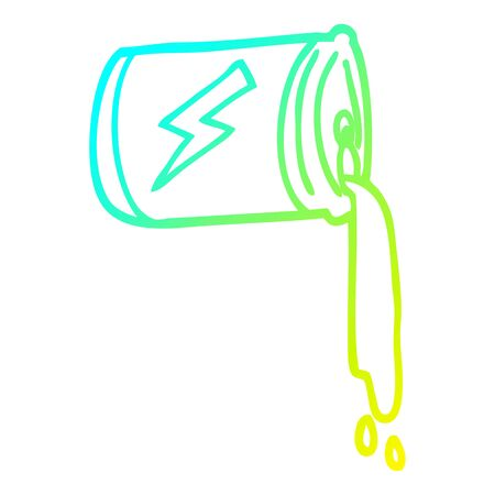 cold gradient line drawing of a cartoon pouring soda can