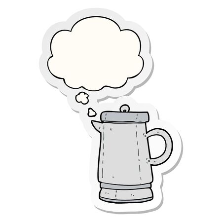cartone animato vecchio bollitore con bolla di pensiero come adesivo stampato