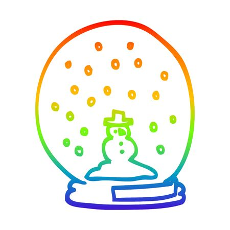 rainbow gradient line drawing of a cartoon snowglobe
