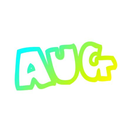 cold gradient line drawing of a cartoon month of august
