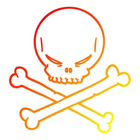 warm gradient line drawing of a cartoon skull and crossbones Illusztráció