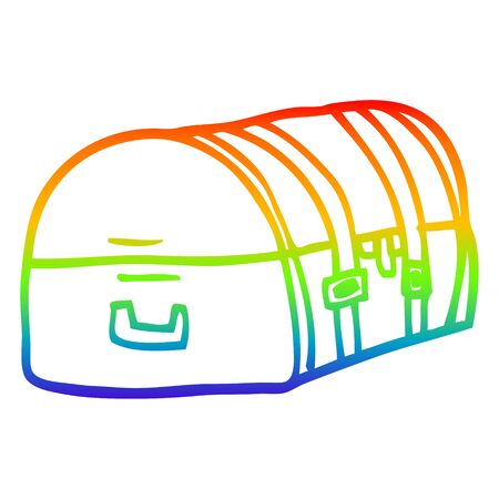 rainbow gradient line drawing of a cartoon travel chest