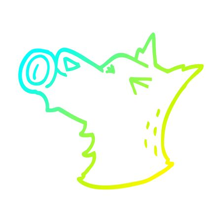 cold gradient line drawing of a cartoon howling dog  イラスト・ベクター素材
